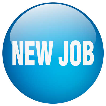 new job: new job blue round gel isolated push button