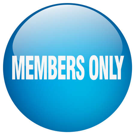 members only: members only blue round gel isolated push button