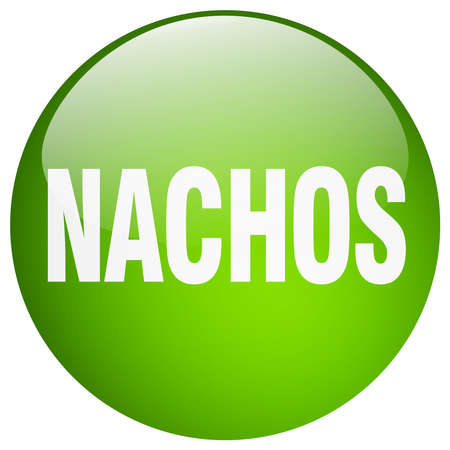 nachos: nachos green round gel isolated push button