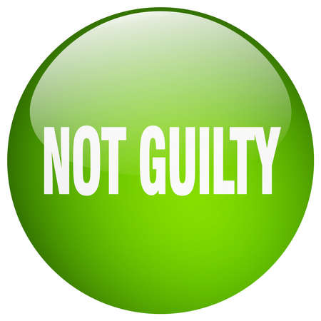 guilt: not guilty green round gel isolated push button
