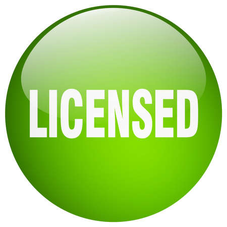 licensed: licensed green round gel isolated push button