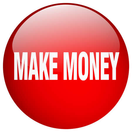 make money: make money red round gel isolated push button