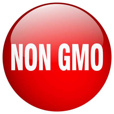gmo: non gmo red round gel isolated push button