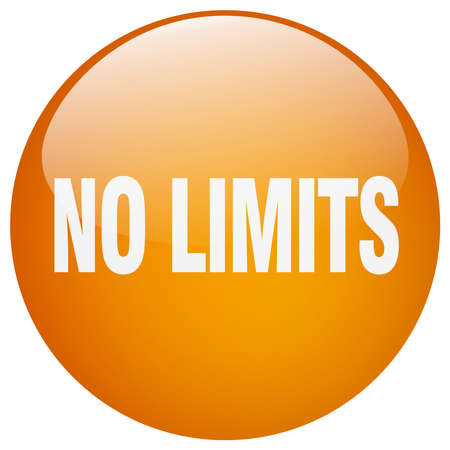 no limits: no limits orange round gel isolated push button