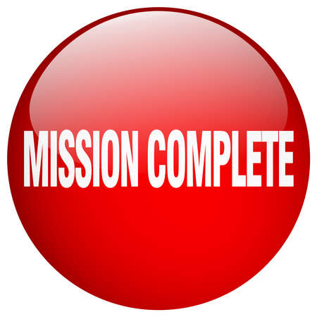 accomplish: mission complete red round gel isolated push button Illustration