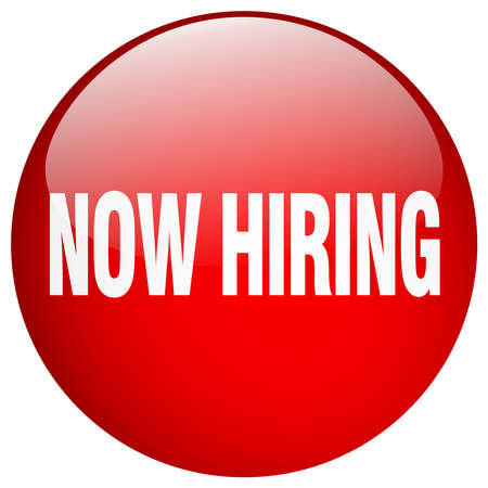 now hiring: now hiring red round gel isolated push button