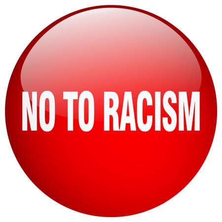 racismo: no al racismo aislado en gel redondo rojo bot�n pulsador
