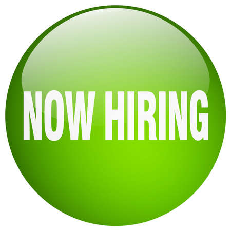 now hiring: now hiring green round gel isolated push button