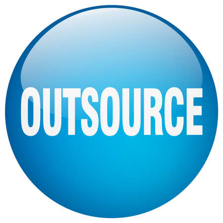 outsource: outsource blue round gel isolated push button Illustration