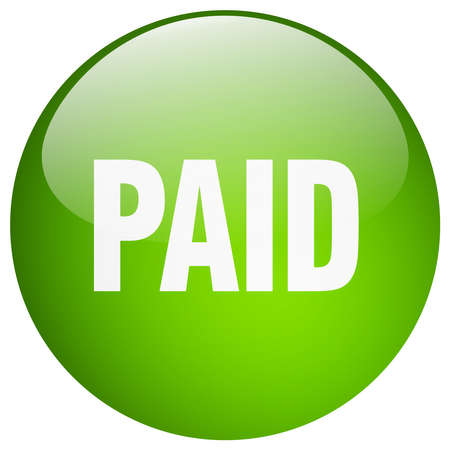 paid: paid green round gel isolated push button