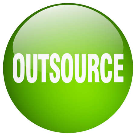 outsource: outsource green round gel isolated push button