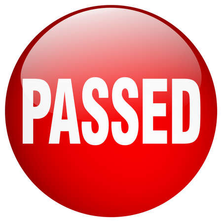 passed: passed red round gel isolated push button