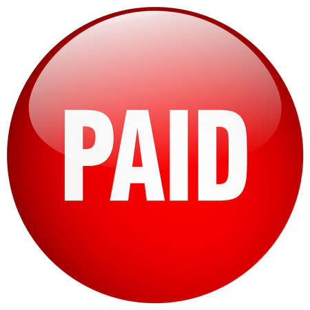paid: paid red round gel isolated push button