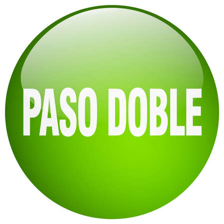 paso doble: paso doble green round gel isolated push button Illustration
