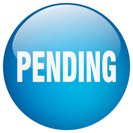 pending: pending blue round gel isolated push button