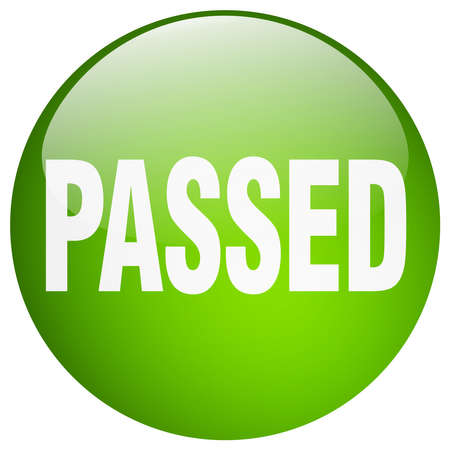 passed: passed green round gel isolated push button
