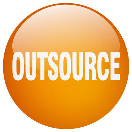 outsource: outsource orange round gel isolated push button