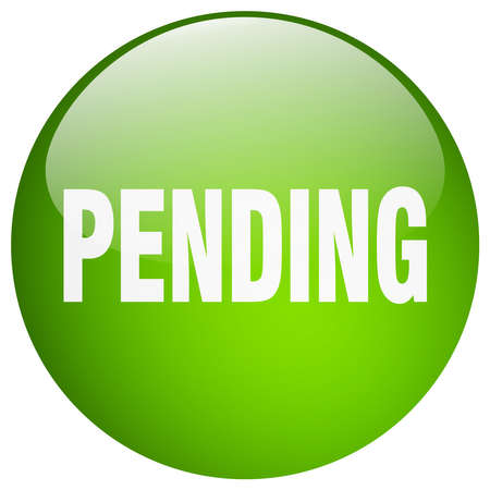 pending: pending green round gel isolated push button