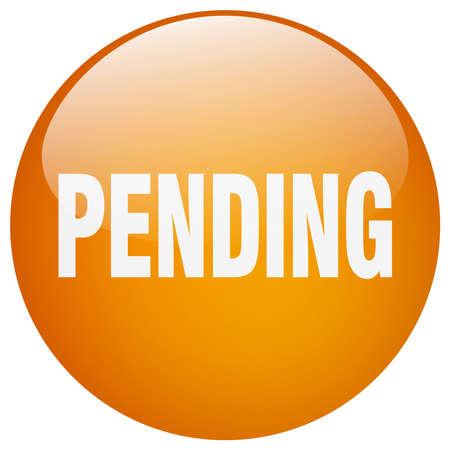 pending: pending orange round gel isolated push button