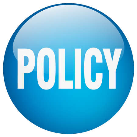 policy blue round gel isolated push button