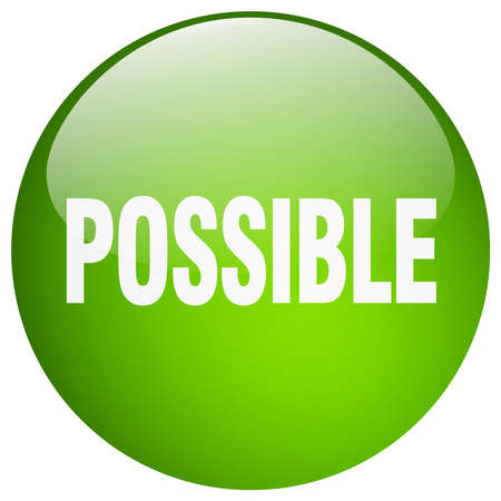 possible: possible green round gel isolated push button