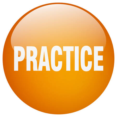 practice: practice orange round gel isolated push button