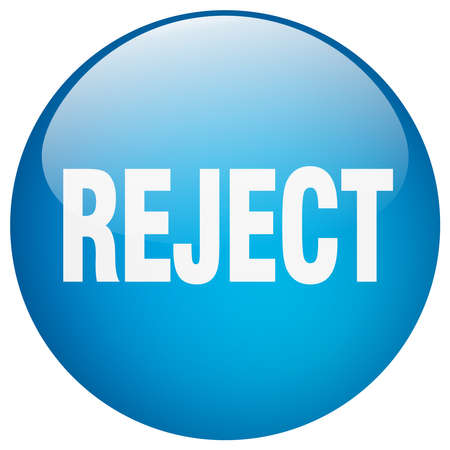 reject: reject blue round gel isolated push button