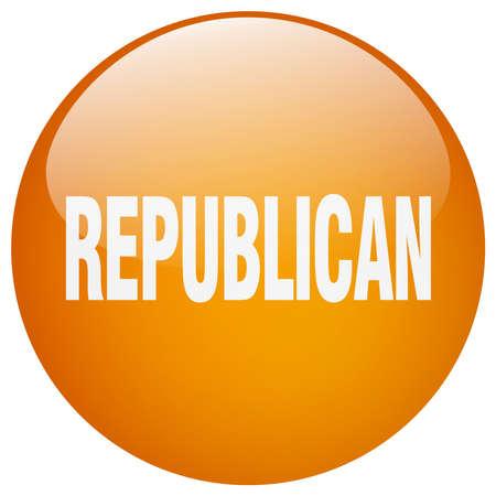 republican: republican orange round gel isolated push button