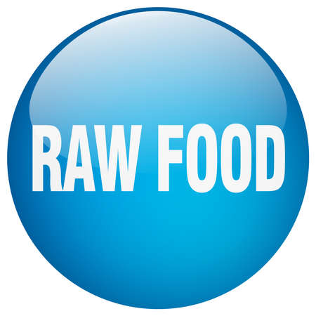 raw food: raw food blue round gel isolated push button Illustration