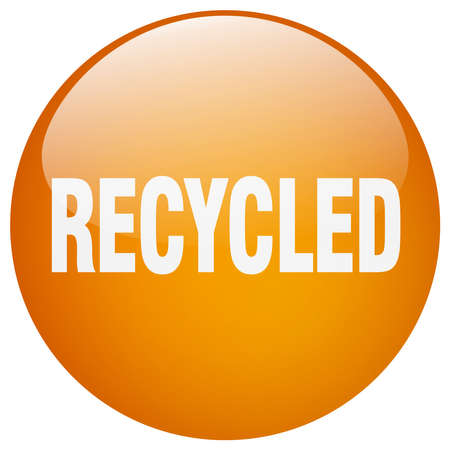or recycled: recycled orange round gel isolated push button
