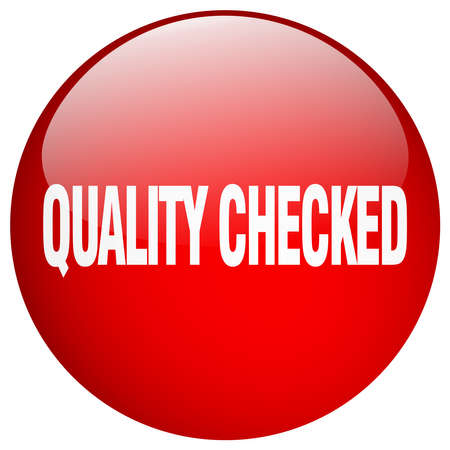 checked: quality checked red round gel isolated push button