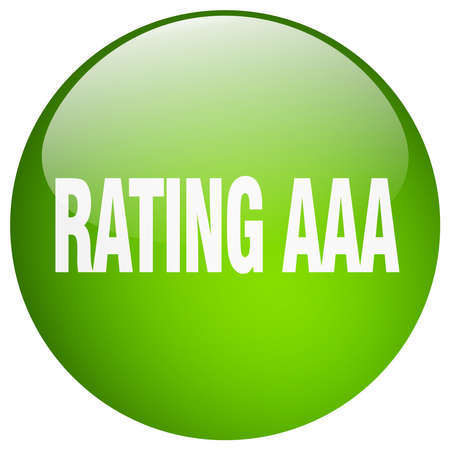 aaa: rating aaa green round gel isolated push button