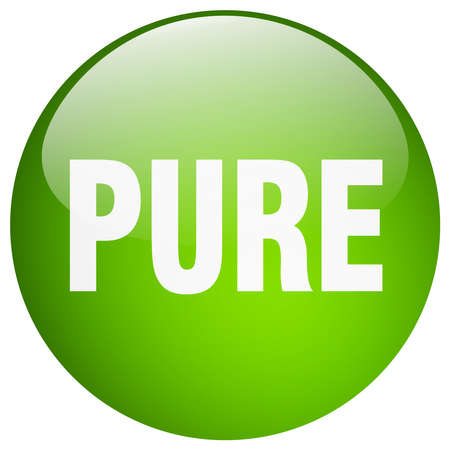pure: pure green round gel isolated push button