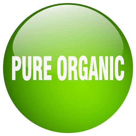 pure: pure organic green round gel isolated push button