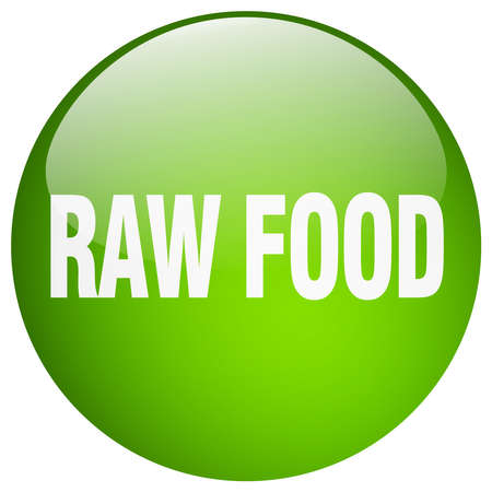 raw food: raw food green round gel isolated push button
