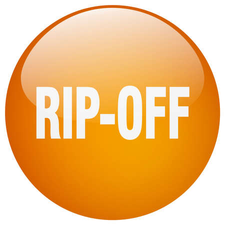 rip off: rip-off orange round gel isolated push button Illustration