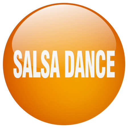 salsa dance: salsa dance orange round gel isolated push button
