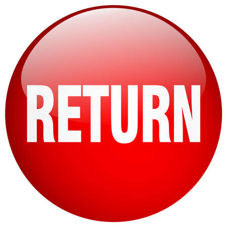 return: return red round gel isolated push button