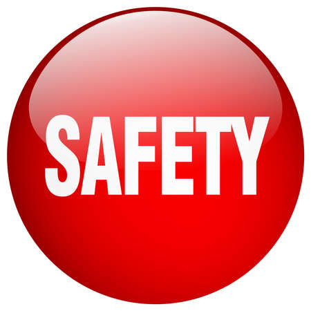gel: safety red round gel isolated push button