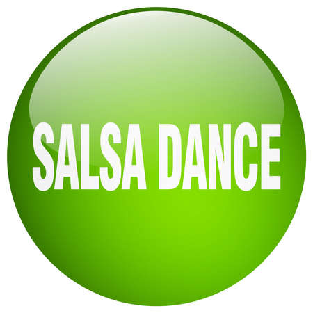 salsa dance: salsa dance green round gel isolated push button