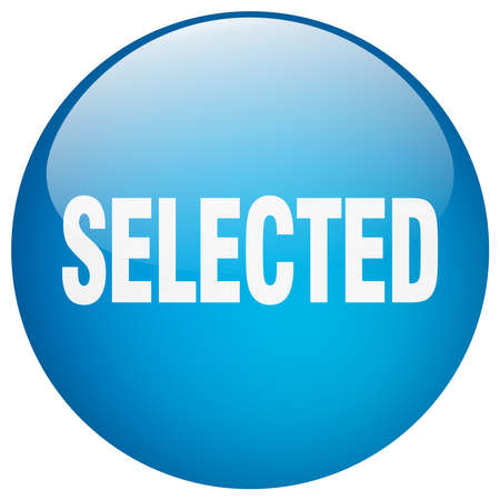 selected: selected blue round gel isolated push button