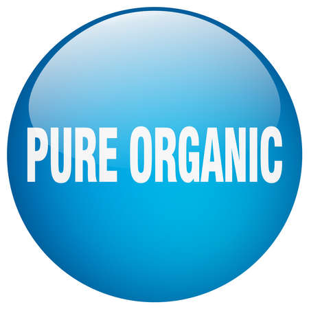pure: pure organic blue round gel isolated push button Illustration
