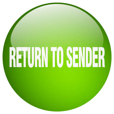 sender: return to sender green round gel isolated push button