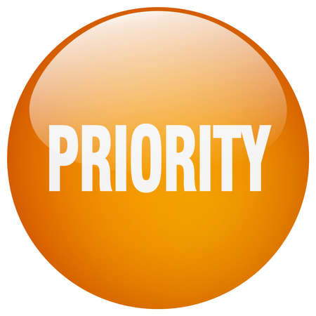 priority: priority orange round gel isolated push button Illustration