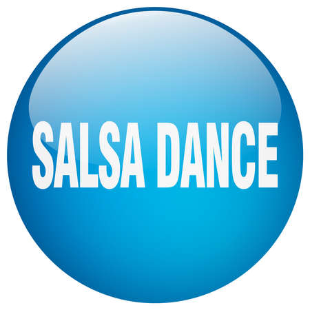 salsa dance: salsa dance blue round gel isolated push button