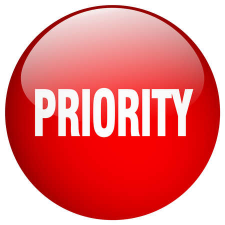 priority: priority red round gel isolated push button