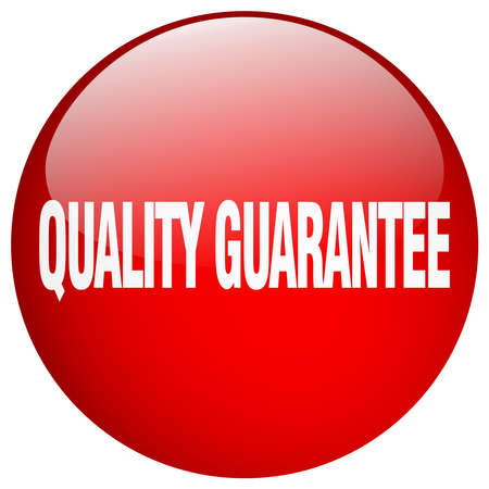 quality guarantee: quality guarantee red round gel isolated push button