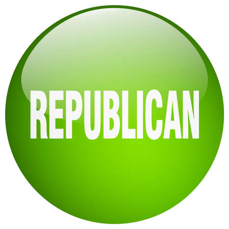 republican: republican green round gel isolated push button Illustration