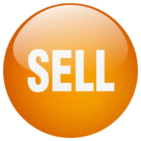 to sell: sell orange round gel isolated push button Illustration