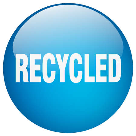 or recycled: recycled blue round gel isolated push button